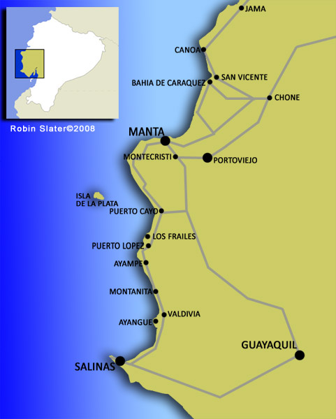 Ecuador coast map