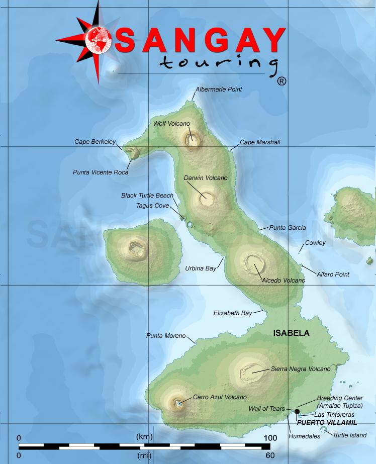 Galapagos Islands Detailed Map ISABELA ISLAND Visit Sites - Galapagos map